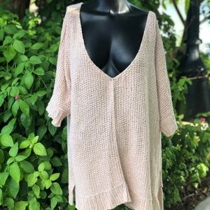 Free People Over Sized Peach Sweater
